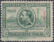 Tangier-Spain 1929 Seville-Barcelona Issue of Spain Overprinted in Blue or Red b