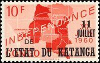 Katanga 1960 Postage Stamps from Congo Overprinted i