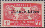 "New Caledonia 1941 Definitives of 1928 Overprinted in black ""France Libre"" w"
