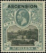 """Ascension 1922 Stamps of St. Helena Overprinted """"ASCENSION"""" da"""