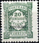 Azores 1922 Postage Due Stamps of Portugal Overprinted (1st Group) a