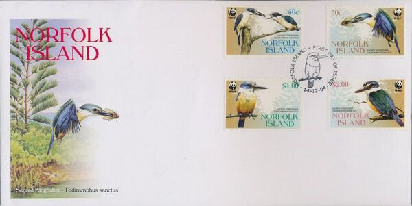 Norfolk Island 2004 WWF Sacred Kingfisher FDCa