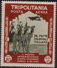 Tripolitania 1934 2nd Colonial Arts Exhibition in Naples-Air Post j