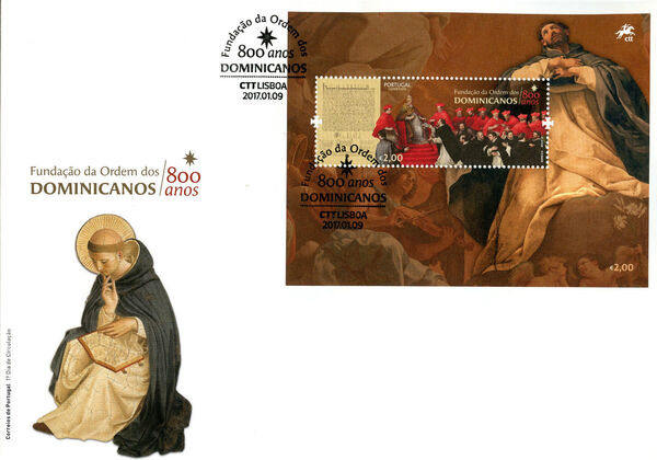 Portugal 2017 800 Years of the Foundation of Dominicans Order FDCb