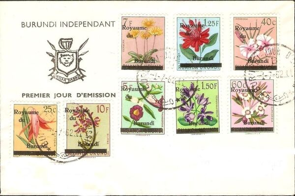Burundi 1962 Flower Issue of Ruanda-Urundi Overprinted K