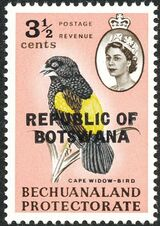 Botswana 1966 Overprint REPUBLIC OF BOTSWANA on Bechuanaland 1961 d