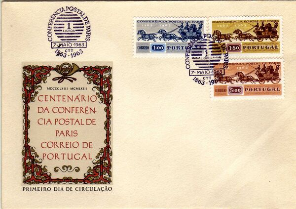 Portugal 1963 100th Anniversary of the 1st International Mail Conference d