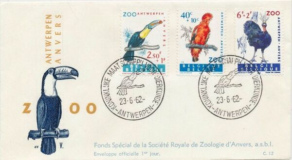 Belgium 1962 Birds of Antwerp Zoo FDCa