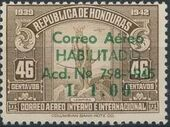 Honduras 1945 Air Post Stamps of 1937-1939 Surcharged h