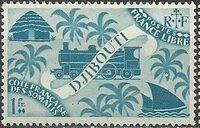 French Somali Coast 1943 Locomotive and Palms g