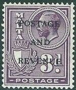 Malta 1928 George V and Coat of Arms Ovpt POSTAGE AND REVENUE i