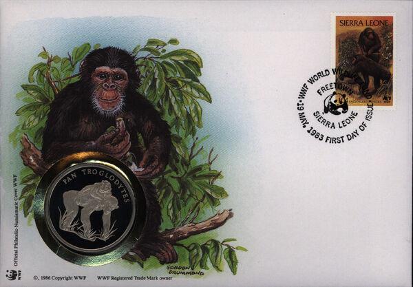 Sierra Leone 1983 WWF - Chimpanzees from Outamba-Kilimi National Park WWFPNCa