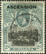 "Ascension 1922 Stamps of St. Helena Overprinted ""ASCENSION"" db"