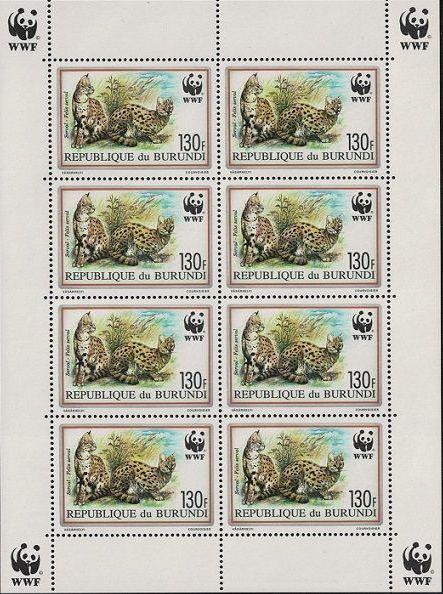 Burundi 1992 WWF Leptailurus serval Sb