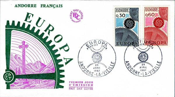 Andorra-French 1967 Europa FDCa