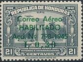 Honduras 1945 Air Post Stamps of 1937-1939 Surcharged f
