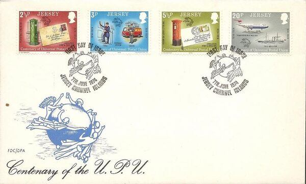 Jersey 1974 100th Anniversary of the Universal Postal Union h