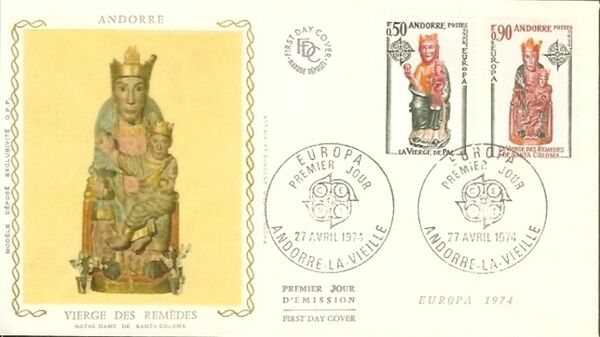 Andorra-French 1974 - Europa - Sculptures FDCe