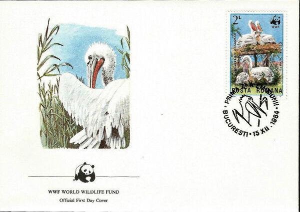 Romania 1984 WWF - Pelicans of the Danube Delta FDCd