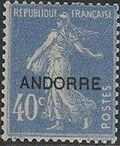 "Andorra-French 1931 Type ""Semeuse"" of France Overprinted ""ANDORRE"" e"