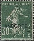 "Andorra-French 1931 Type ""Semeuse"" of France Overprinted ""ANDORRE"" d"