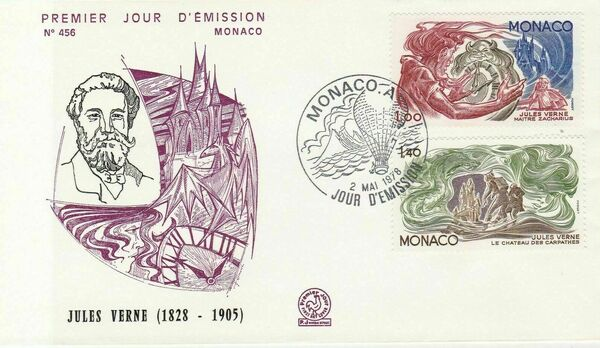 Monaco 1978 Birth Sesquicentennial of Jules Verne FDCg