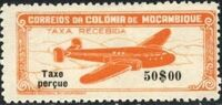 """Mozambique 1947 Airplane over Mountainous Region with """"Taxe Perçue"""" h"""