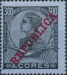 Azores 1911 D. Manuel II Overprinted REPUBLICA l