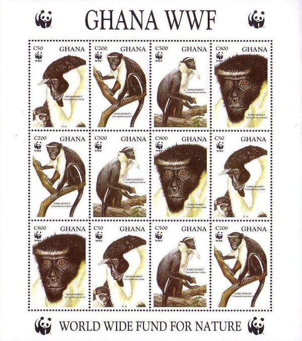 Ghana 1994 WWF - Diana Monkeys h