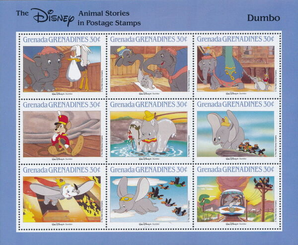Grenada Grenadines 1988 The Disney Animal Stories in Postage Stamps SSd