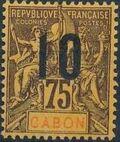 Gabon 1912 Navigation and Commerce Surcharged j