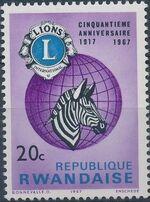 Rwanda 1967 50th Anniversary of Lions International a
