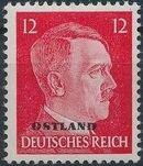 German Occupation-Russia Ostland 1943 Stamps of German Reich Overprinted in Black b