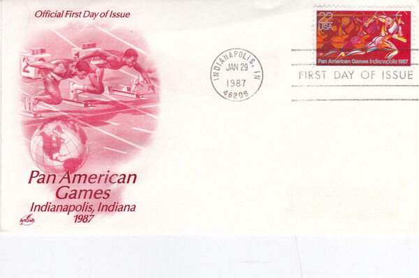 United States of America 1987 Pan American Games, Indianapolis FDCa