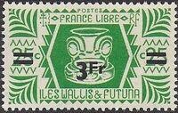 Wallis and Futuna 1946 Ivi Poo Bone Carving in Tiki Design Surcharged f