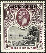 "Ascension 1922 Stamps of St. Helena Overprinted ""ASCENSION"" f"