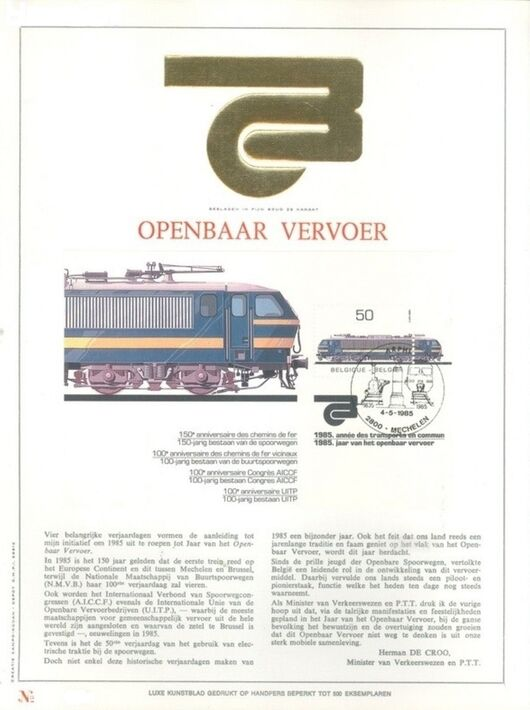 Belgium 1985 Public Transportation Year FOLb