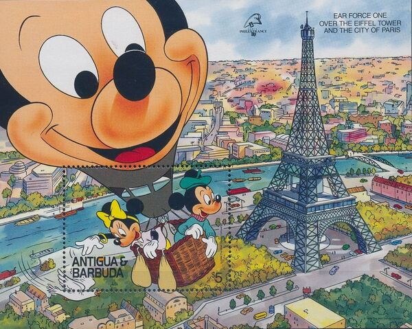 "Antigua and Barbuda 1989 Disney - ""Philexfrance 89"" International Stamp Exhibition l"