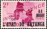 Katanga 1960 Postage Stamps from Congo Overprinted e