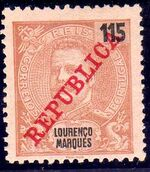 Lourenço Marques 1911 D. Carlos I Overprinted j