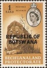 Botswana 1966 Overprint REPUBLIC OF BOTSWANA on Bechuanaland 1961 m
