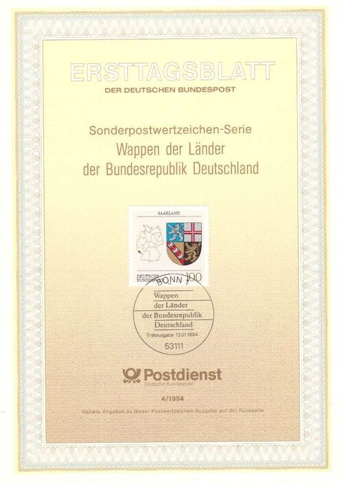 Germany, Federal Republic 1994 Coat of Arms of the Federal States of Germany (3rd Group) IOP-ETBa