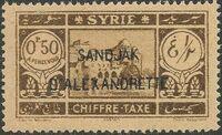 "Alexandretta 1938 Postage Due Stamps of Syria (1925-1931) Overprinted ""SANDJAK D'ALEXANDRETTE"" in Red or Black a"