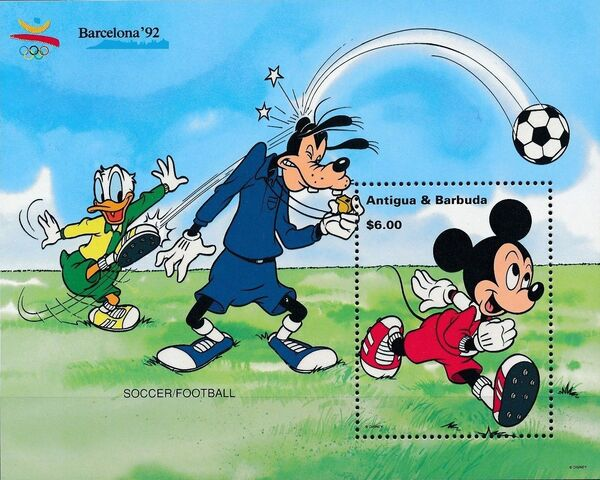 Antigua and Barbuda 1992 Olympic Games Barcelona - Walt Disney Characters o