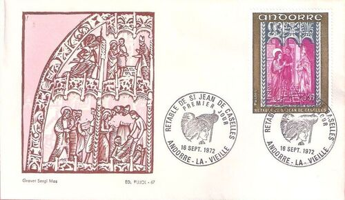 Andorra-French 1972 Altarpiece of Saint Jean de Caselles FDCd