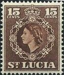 St Lucia 1953 Queen Elizabeth II and Arms of St Lucia i