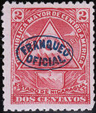 Nicaragua 1898 Official Stamps Overprinted in Blue b