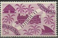 French Somali Coast 1943 Locomotive and Palms l