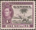 Gambia 1938 King George VI and Elephant (1st Group) g