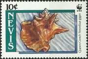 Nevis 1990 WWF Queen Conchs (Strombus gigas) a